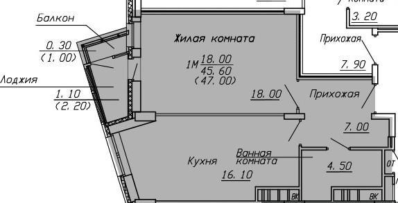 1-к квартира, 47 м2, 14 /23 эт.