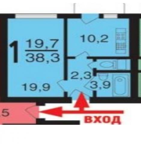 1-к квартира, 38 м2, 11 /22 эт.