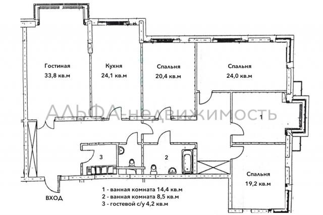 5-к квартира, 186 м2, 36 /43 эт.