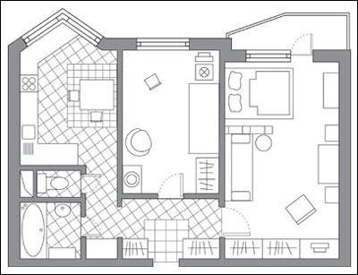 Дизайн проект двухкомнатной квартиры п44т линейка