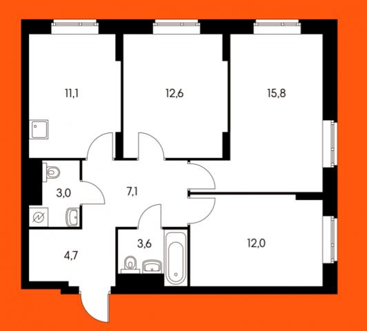 Продается 3-комнатная квартира, Сельскохозяйственная ул., 35С100